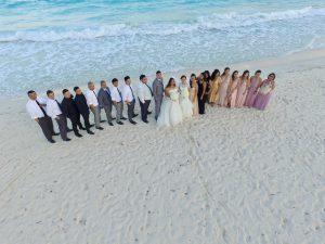 Boda en playa de Cancun con Drones